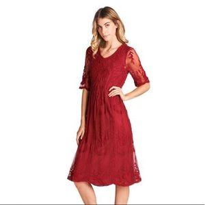 Orange Creek Burgundy Lace Midi Dress